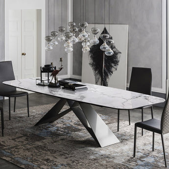 Modern White Marble Dining Table with Black Metal Frame - My Aashis