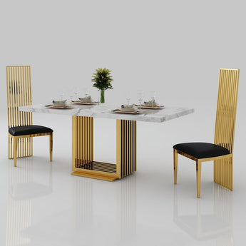 Elegant Marble Accent Dining Table With Gold Stainless Steel - My Aashis
