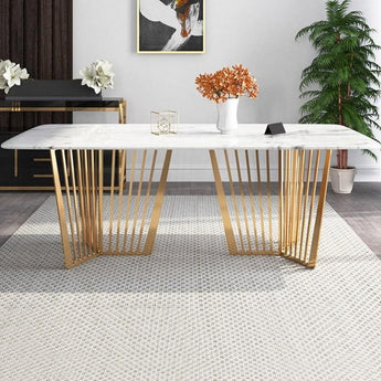 Contemporary Marble Dining Table Gold Base Stainless Steel - My Aashis