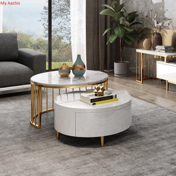Contemporary Wooden Round Rotating Marble Coffee Table with Storage - My Aashis