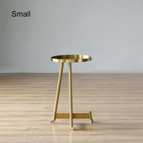 Stylish Rolling Side Golden Coffee Table With Wheels & Tray Top - My Aashis
