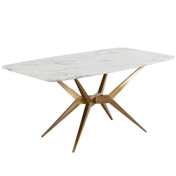 Luxury White Marble Dining Table With Gold Base Stainless Steel - My Aashis