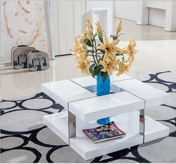 Rich Look Modern Double Space Square Coffee Table