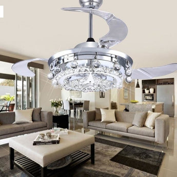 Luxury  Droplight Silver  Crystal Fan Chandelier - My Aashis