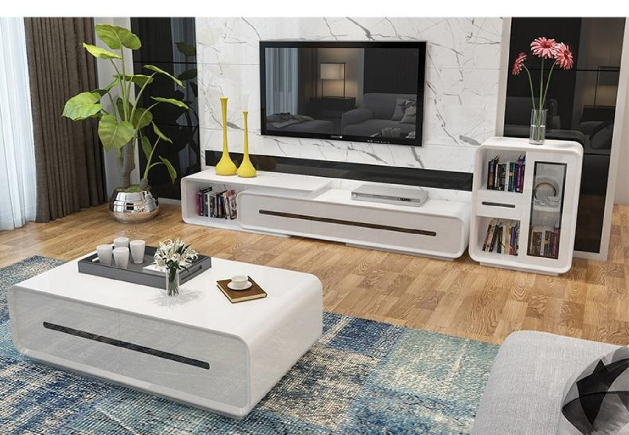 Wooden Panel TV Stand Modern Living Room Home Furniture ...