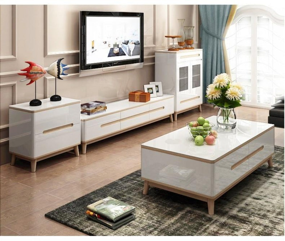 Wooden Entertainment Center With Coffee Table