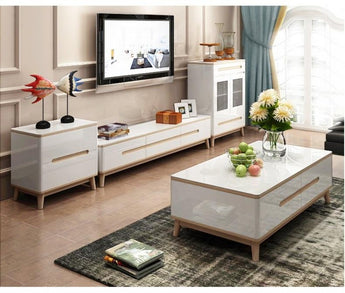 Wooden Entertainment Center With Coffee Table - My Aashis