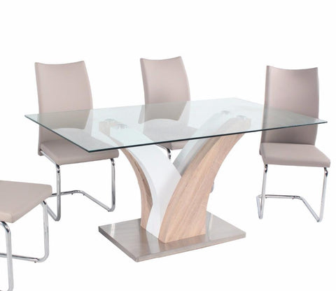 Modern Italian Metal Glass Dining Table and Chair Sets - My Aashis