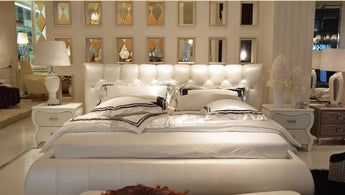 Modern Leather Bed For Bedroom Furniture - My Aashis