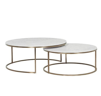 2 piece Circle Shaped  Marble Nesting Table