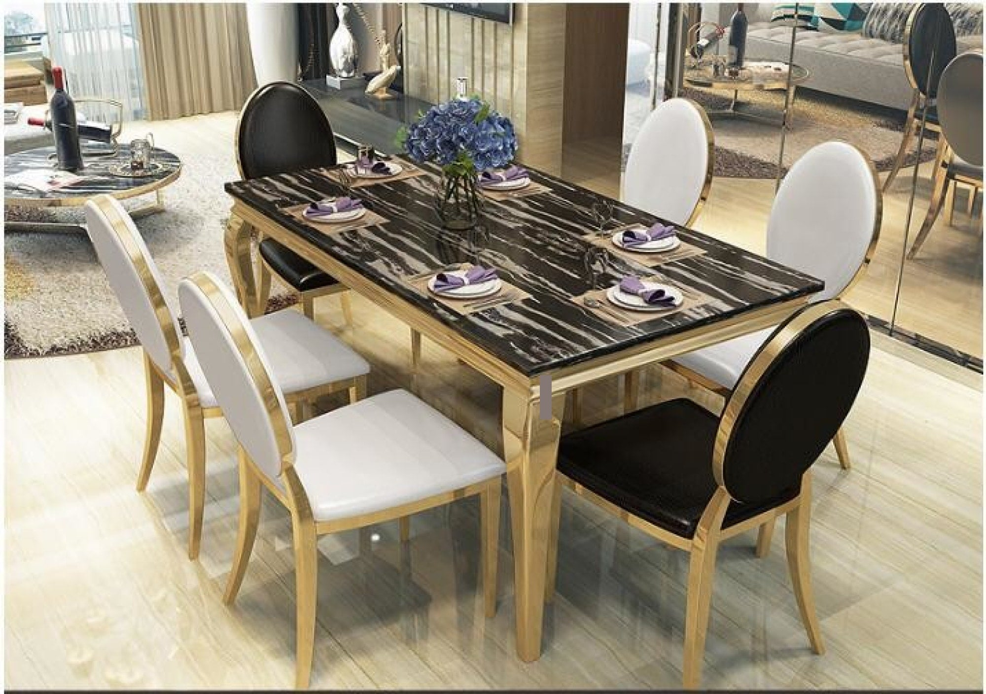 Luxury Marble Dining Set Furniture My Aashis