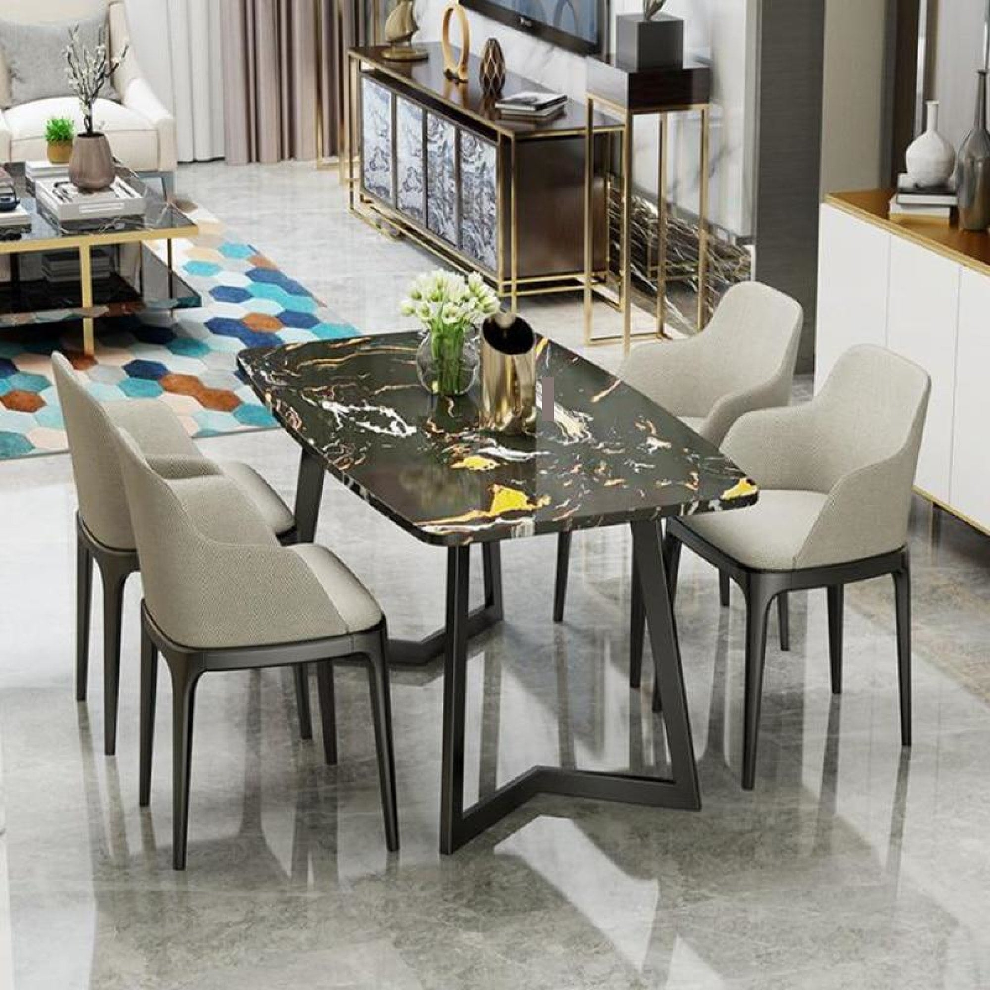 Nordic Marble Stylish Dining Or Coffee Table With Chairs My Aashis