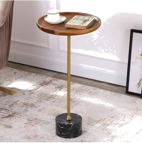 Golden Finish Antique Side Table With Marble Top - My Aashis
