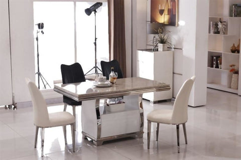Luxury Silver Marble Modern Dining Table Set - My Aashis