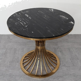 Unique Black  With Golden Finish Round Marble Side Table - My Aashis