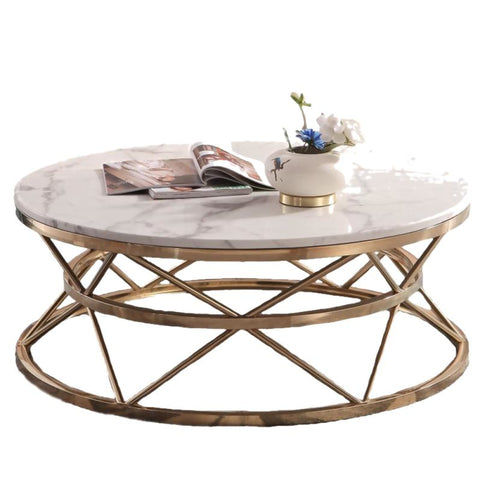 Royal Marble Metal Coffee Table With Antique Base - My Aashis