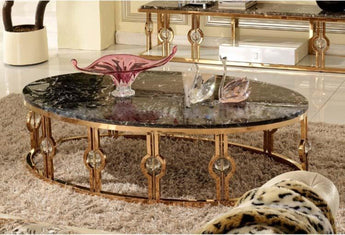 Stainless Steel Marble Top Stylish Coffee Table and Side Table