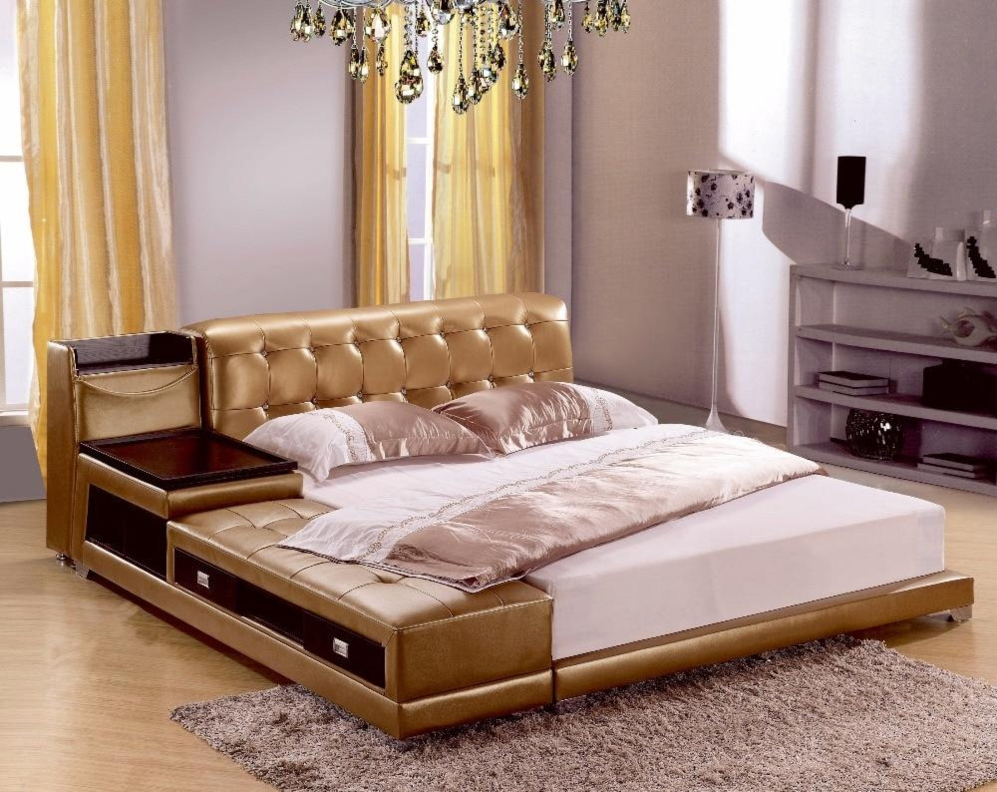 Modern Leather Bed With Storage Box and Side Board   My Aashis