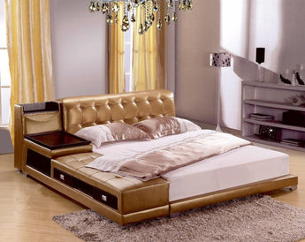 Modern Genuine Leather Bed With Storage Box and SideBoard