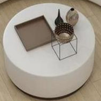Round White Leather Coffee Table Contemporary - My Aashis