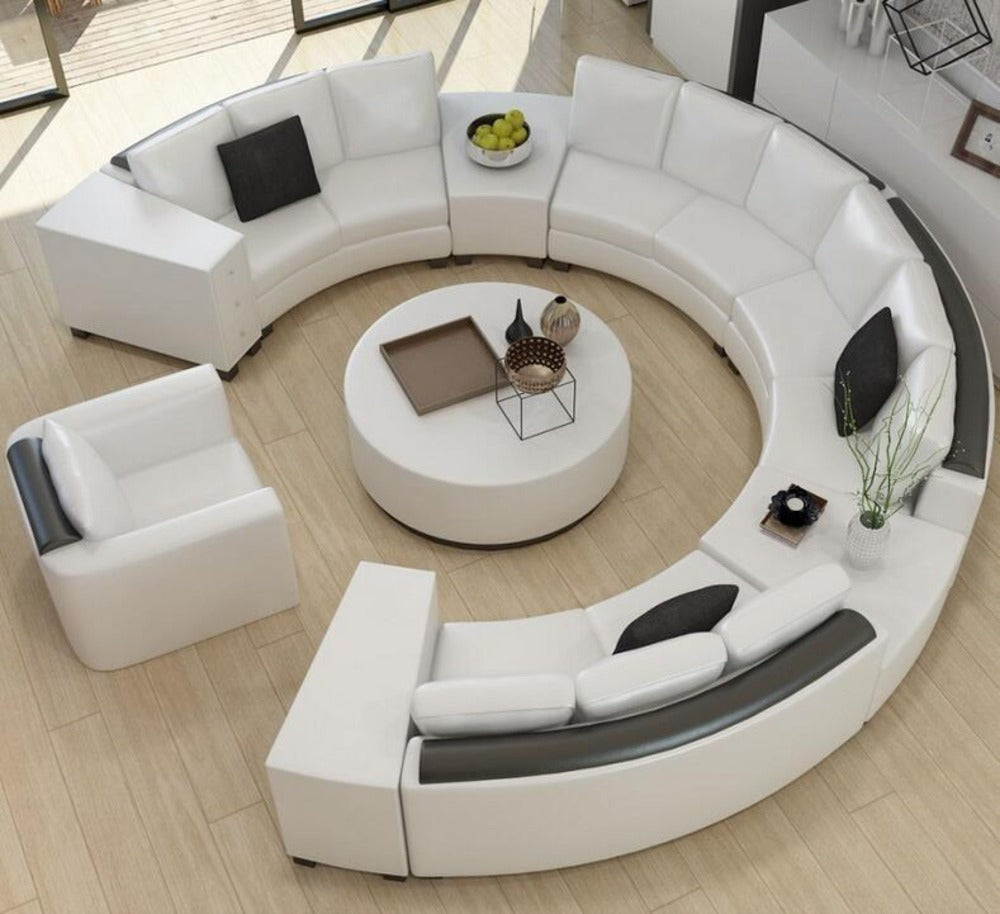 Modern Curved Top Grain Round Leather Sofa Living Room ...