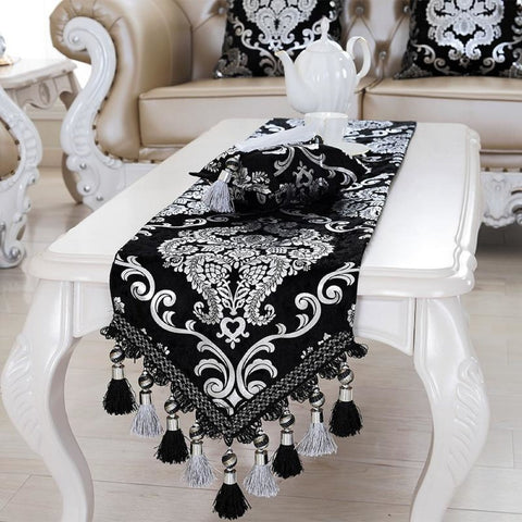 Luxurious Runner Silver Plating Bead Tassels Table Runner - My Aashis