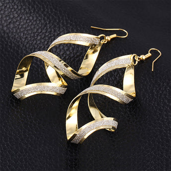 Rotating Gold Silver Plated Ear drop Long Earring Glitter Distortion
