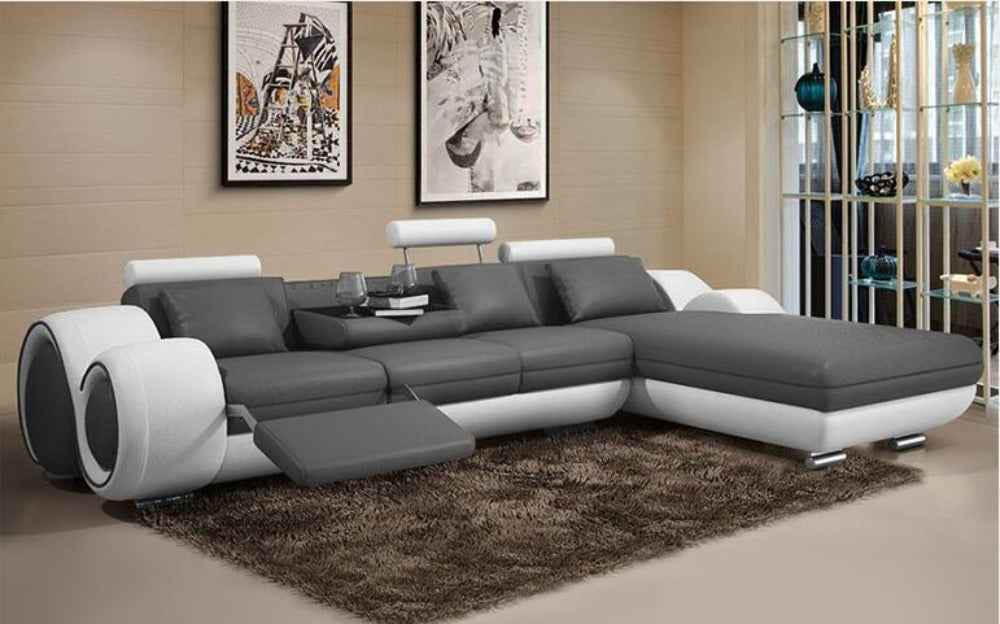 Minimalist Luxury Modern Genuine Leather Sofa L Shape Sofa ...