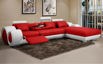 Minimalist Luxury Modern Genuine Leather Sofa  L Shape Sofa