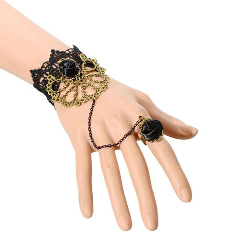 Classic Design With Black Rose Lace Bracelet Studded Drop Finger Ring - My Aashis
