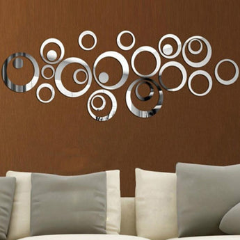Removable Vinyl 24pcs Circles Mirror Wall Stickers Decals Decoration