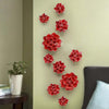 Mural Arts Craft Home decor European ceramic flower wall hanging adornment white/red bloom - My Aashis