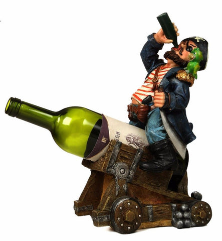 Caribbean Pirate on Cannon Polyresin Sculpture Red Wine and Champagne Bottle Rack Ornamental