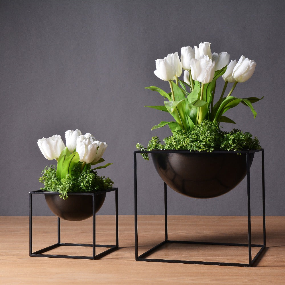 My Aashis & Modern Waterproof Cube Metal Flower Plant Pot Home Decoration