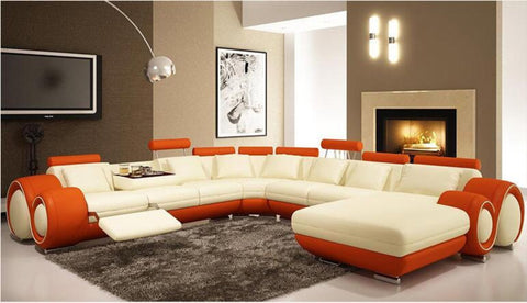 Modern Luxurious L Shaped Leather Corner Sofa - My Aashis