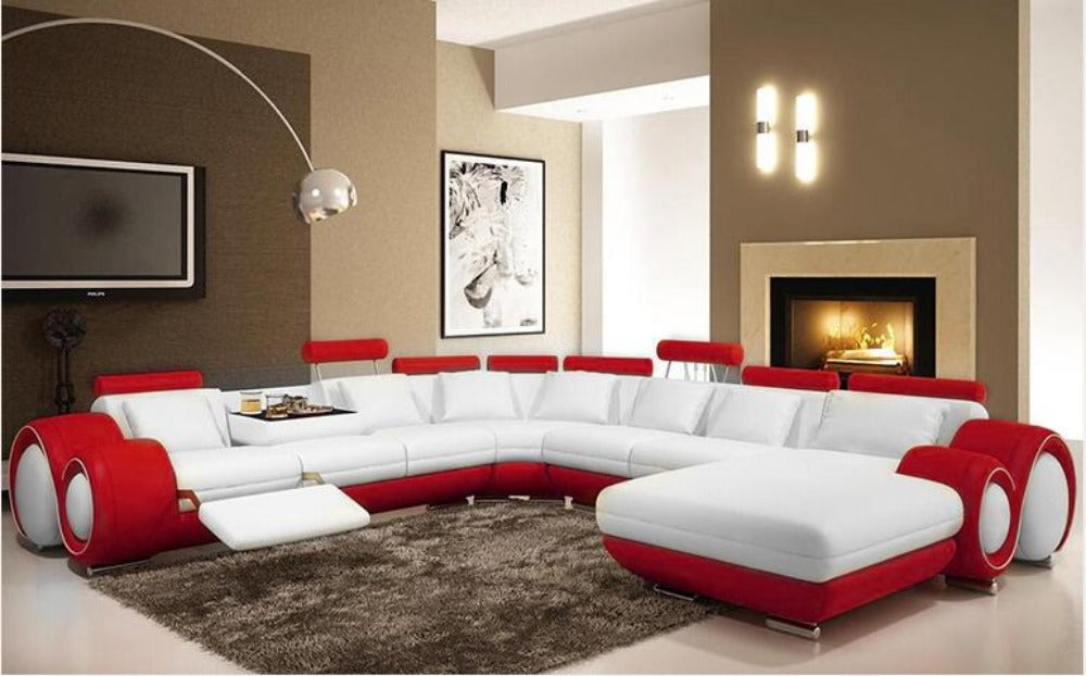 Luxury L shape genuine leather corner sofa modern fashion creative  combination large size sofa