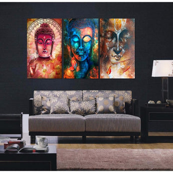 3 Pcs Buddha Canvas Beautiful Wall Hanging Limited Edition