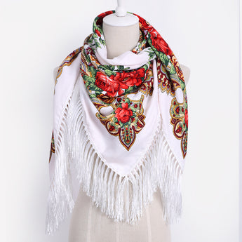 Ethnic Style Cotton Flower Pattern Print Scarf Russian Tassel Winter Warm Square Blanket Scarf Shawl