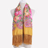Ethnic Style Cotton Flower Pattern Print Scarf Russian Tassel Winter Warm Square Blanket Scarf Shawl - My Aashis