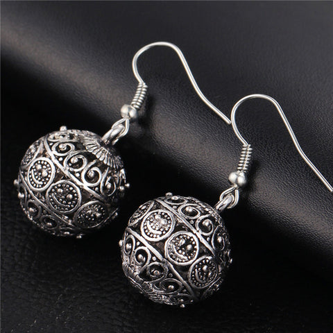 IF YOU New Spherical Silver Color Earrings for Women Hollow Dangle Earring Fashion Classic Jewelry Love Boucle D'oreille Femme
