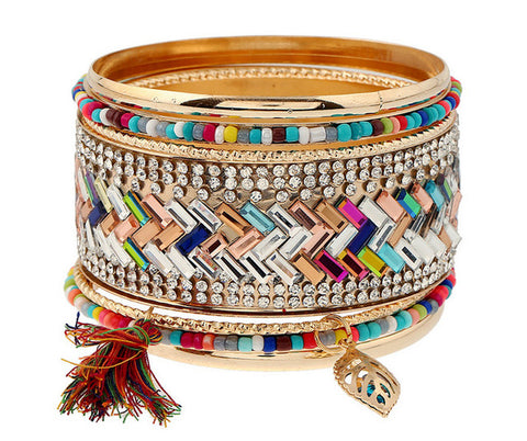 Multilayer Gold color alloy Bangle  Charm Bracelets tassel Bangles Set - My Aashis
