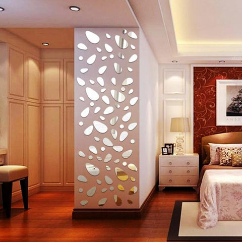 Mirror 3D 12pcs/set Silver Wall Sticker Decoration - My Aashis