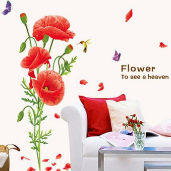 RED POPPY Wall Decals Home Decor Art Flower Vinyl Mural Wall Stickers TV background bedroom wall Decals Butterfly Home Decor
