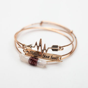 "Bangles Bracelets Sets Natural ""Follow Your Heart"" Cupid Arrow Bracelet Women - My Aashis"