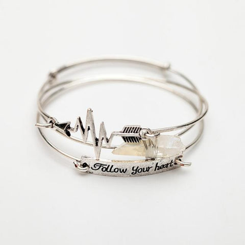"Bangles Bracelets Sets Natural ""Follow Your Heart"" Cupid Arrow Bracelet Women"