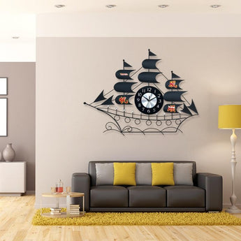 Large Wall Clock Modern Design Metal  Sailboat Living Room/Bedroom Mute Digital