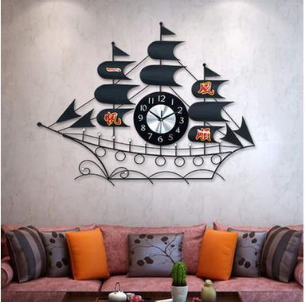 large wall clock modern design metal sailboat living roombedroom mute digital - Bedroom Clock