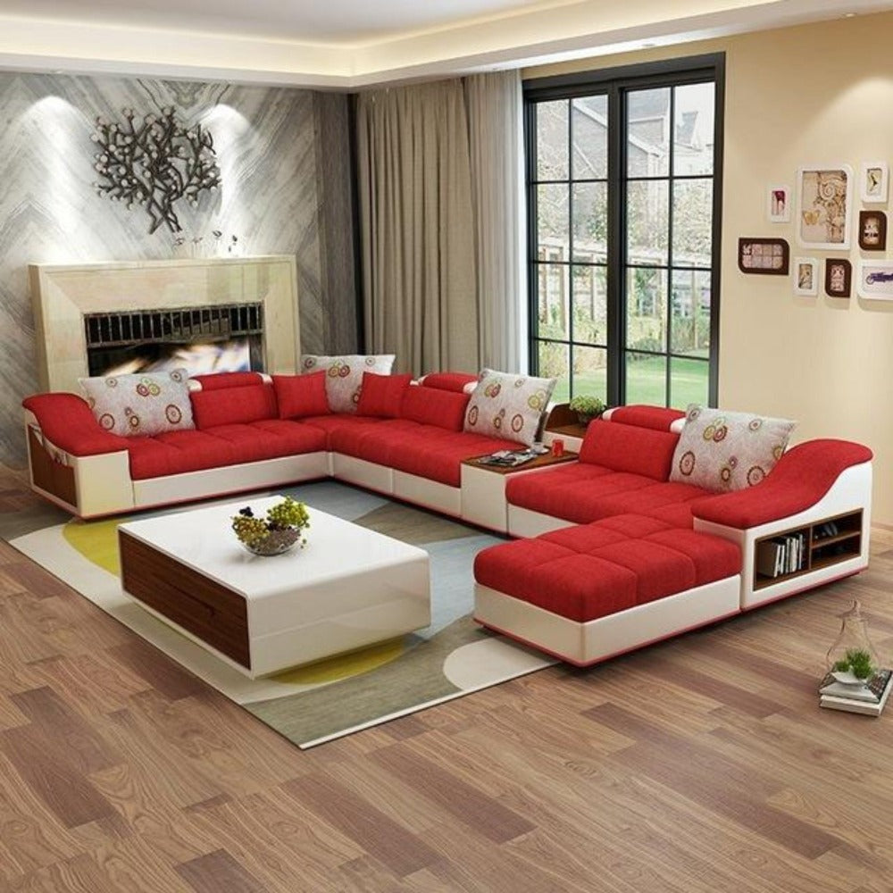 Luxury Modern U Shaped Leather Fabric Corner Sectional
