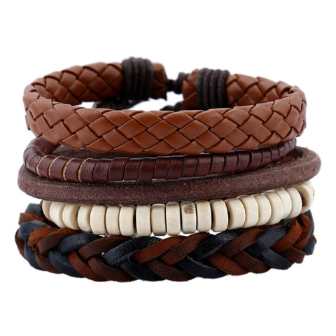 Women Men Multilayer Braid Rope Beads Leather Bracelet Charm - My Aashis