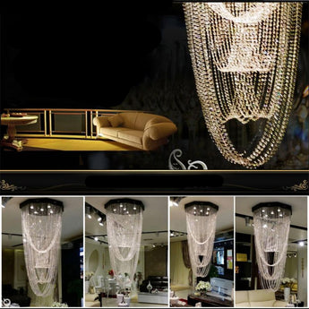Modern LED Curtain Crystal Light Chandeliers